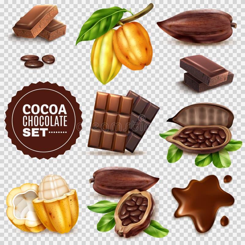 Realistische Cacao Transparante Reeks Als achtergrond vector illustratie