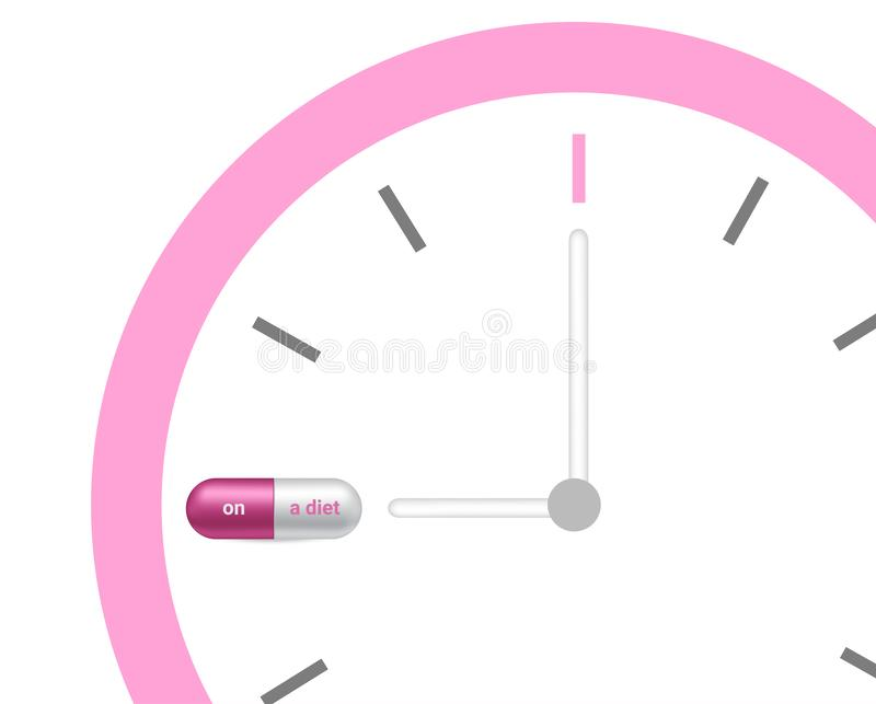 Realistische Capsule of Pillengeneeskunde met op een een dieettijd en Verslaafde aan Slank Lichaam met Klok op witte Achtergrond vector illustratie