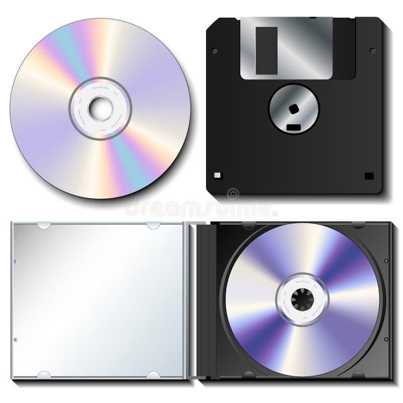 Realistische CD en slappe reeks stock illustratie