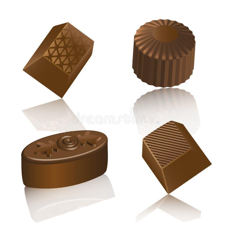 Realistische chololate Süßigkeit lokalisiert stock abbildung