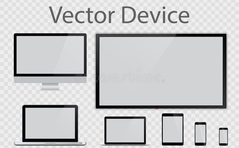 Realistische Computer, Laptop, Tablet, smartphone Vastgesteld apparatenmodel stock illustratie