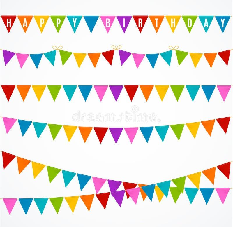 Realistische 3d Gedetailleerde Buntings Garland Flag Set Vector vector illustratie
