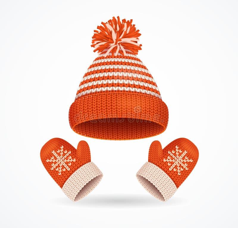 Realistische 3d Gedetailleerde Geplaatste de Winterhoed en Vuisthandschoenen Vector stock illustratie