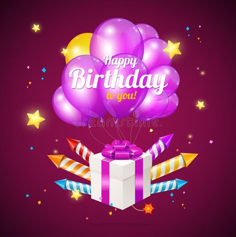 Realistische 3d Gedetailleerde Kleurenballons en Huidig de Kaartconcept van de Doosverjaardag Vector vector illustratie