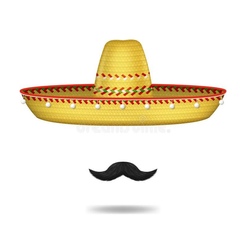 Realistische 3d Gedetailleerde Mexicaanse van de Sombrerohoed en Snor Reeks Vector royalty-vrije illustratie