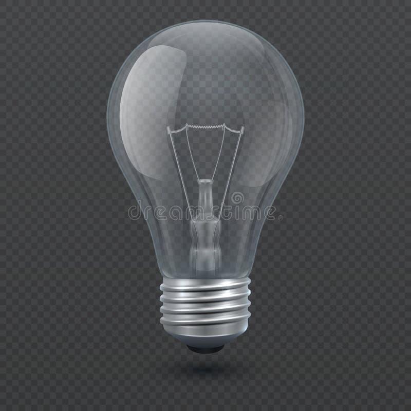 Realistische 3d gloeilampen vectordieillustratie op transparante achtergrond wordt geïsoleerd stock illustratie