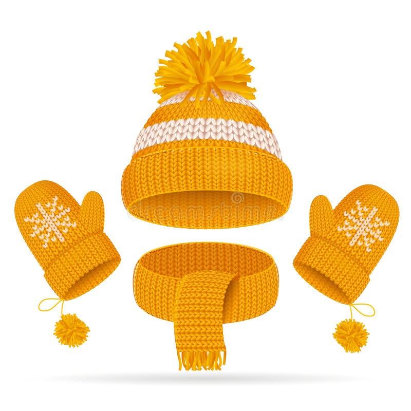 Realistische 3d Hoed met een Reeks van Pompom, van de Sjaal en van de Vuisthandschoen Vector stock illustratie