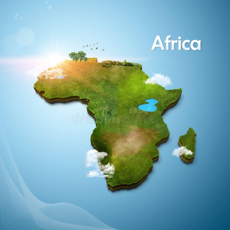 Realistische 3D Kaart van Afrika stock illustratie