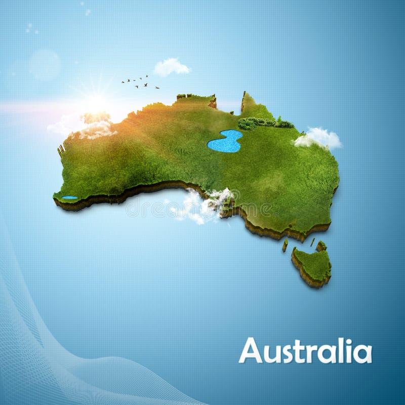 Realistische 3D Kaart van Australië royalty-vrije stock foto