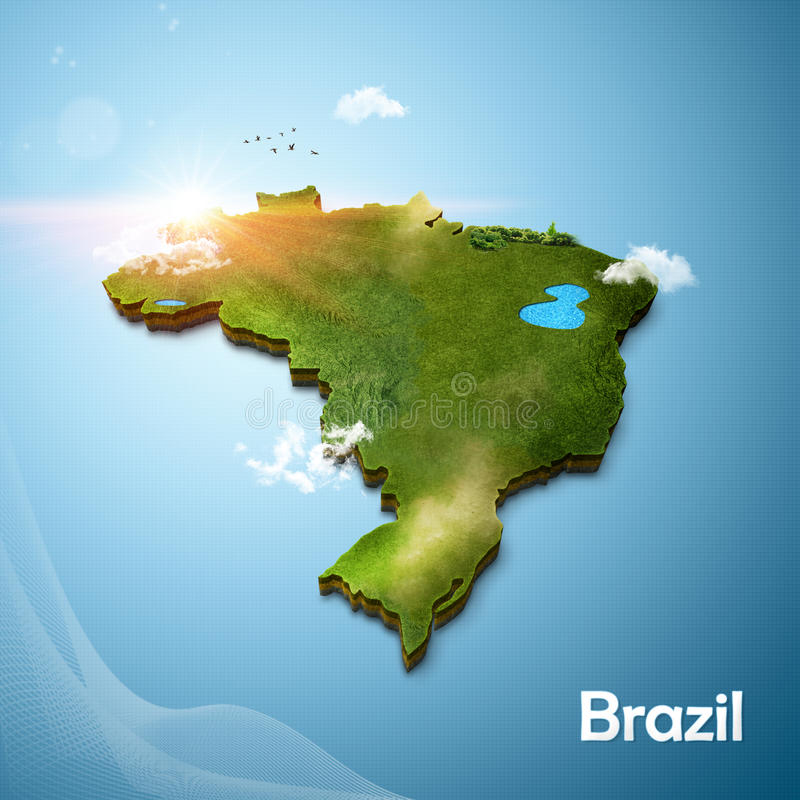 Realistische 3D Kaart van Brazilië stock foto's