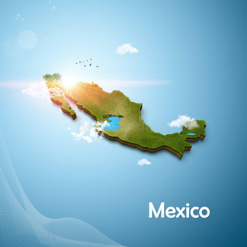 Realistische 3D Kaart van Mexico stock illustratie