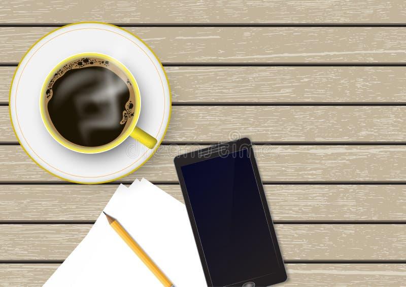 realistische 3d Kaffeetasse mit Papieranmerkung, Bleistift und Smartphone auf braunem Weinleseholztisch, Draufsicht vektor abbildung