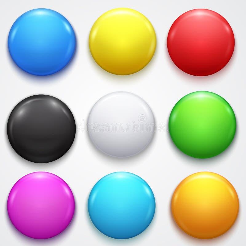 Realistische 3d leeren Farbleere Kreis-Knopf-Ausweis-Pin Set Front Side Element-Darstellung und Werbungs-Einzelhandel vektor abbildung