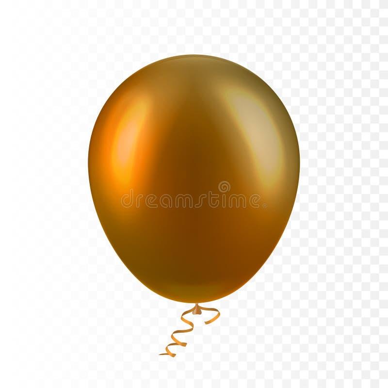 Realistische 3D Opblaasbare lucht die van de voorraad isoleerde de vectorillustratie kleurrijke gouden ballon vliegen op transpar royalty-vrije illustratie