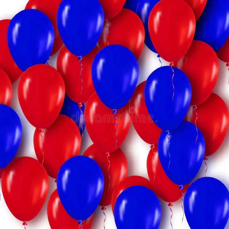 Realistische 3d Rode Blauwe Ballons die voor Partij en Vieringen vliegen royalty-vrije illustratie