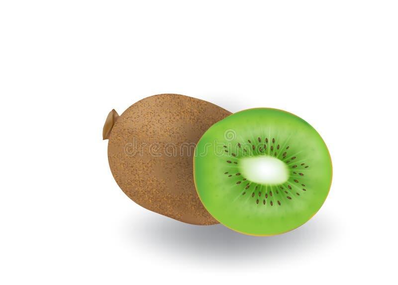 Realistische 3d vector van kiwifruit op ge?soleerde achtergrond royalty-vrije illustratie