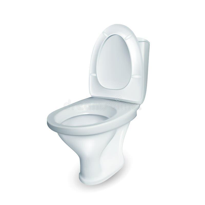Realistische de Komvector van het Toilet Ceramische Toilet vector illustratie