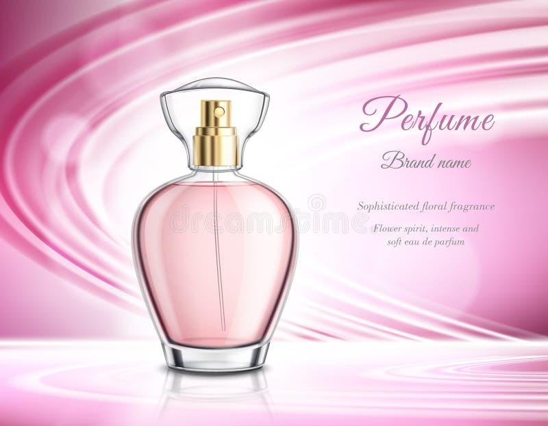 Realistische de Reclameaffiche van het parfumproduct vector illustratie