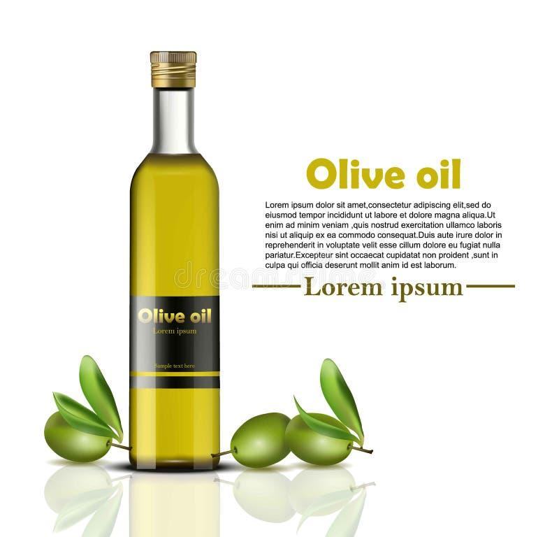 Realistische de Vector van de olijfoliefles voedselidentiteit het brandmerken, verpakkingsontwerp Gezond koud geperst biologisch  royalty-vrije illustratie
