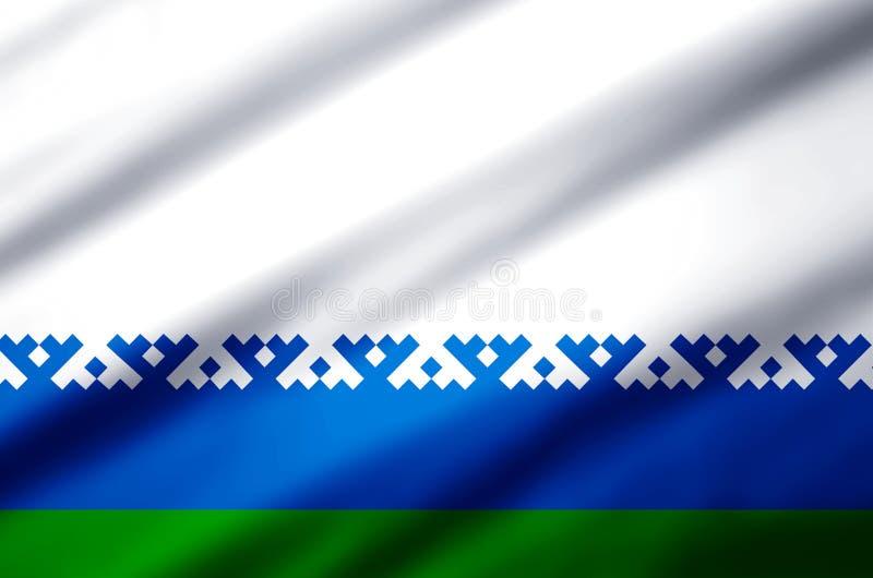 Realistische de vlagillustratie van het Nenets Autonome District stock illustratie