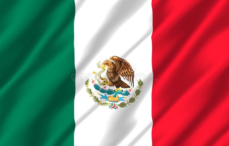 Realistische de vlagillustratie van Mexico vector illustratie