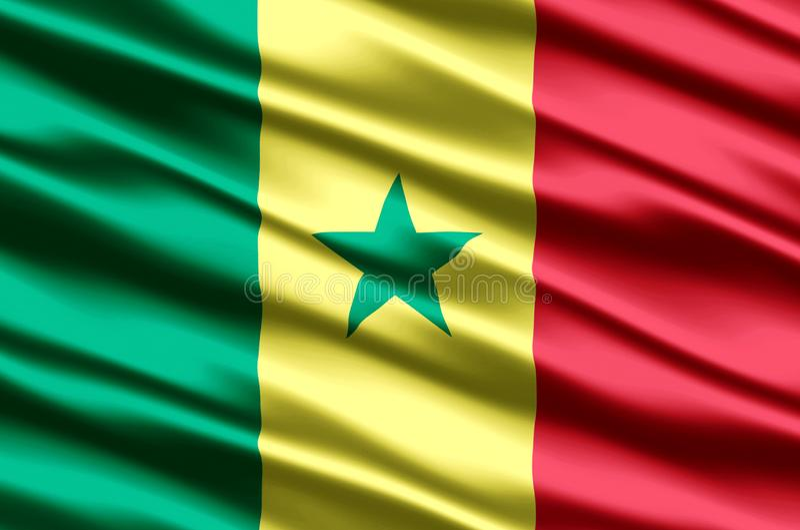 Realistische de vlagillustratie van Senegal vector illustratie