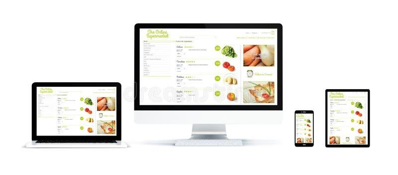 realistische die apparaten met online supermarkt worden geïsoleerd stock illustratie