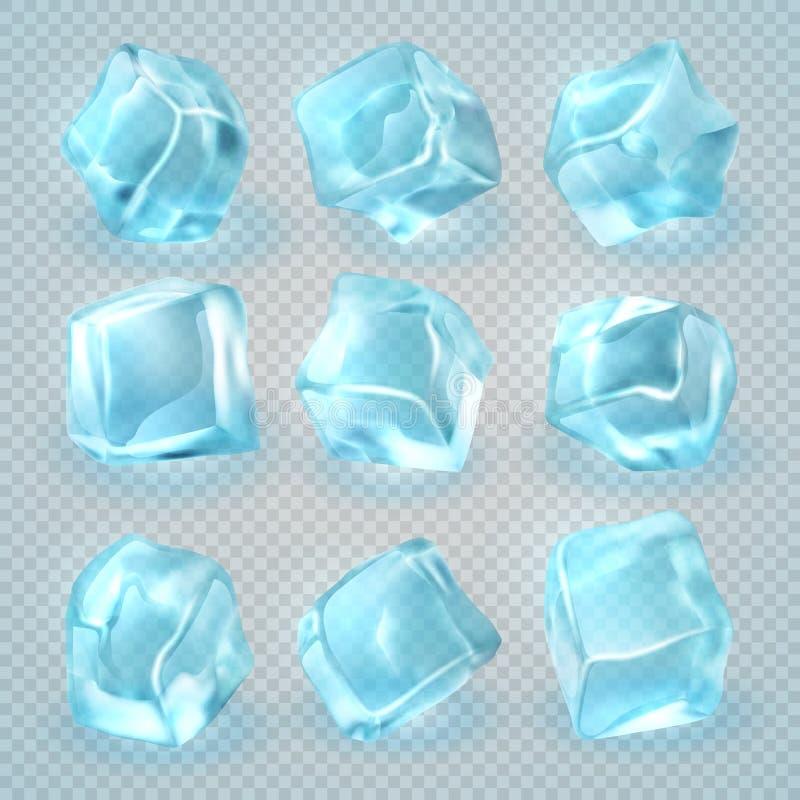 Realistische die 3d ijsblokjes op transparante achtergrond worden geïsoleerd Beeldverhaal polair met harten royalty-vrije illustratie