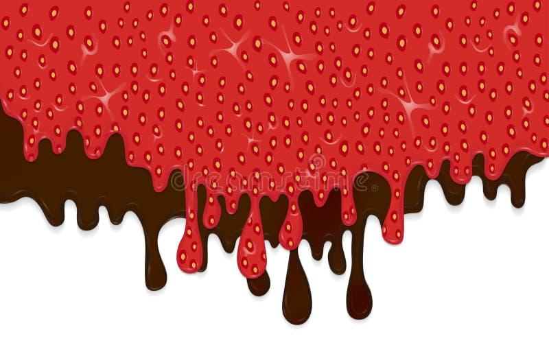 Realistische die druppels van aardbeijam en chocolade op witte achtergrond wordt geïsoleerd Stromende vloeistof Vector stock illustratie