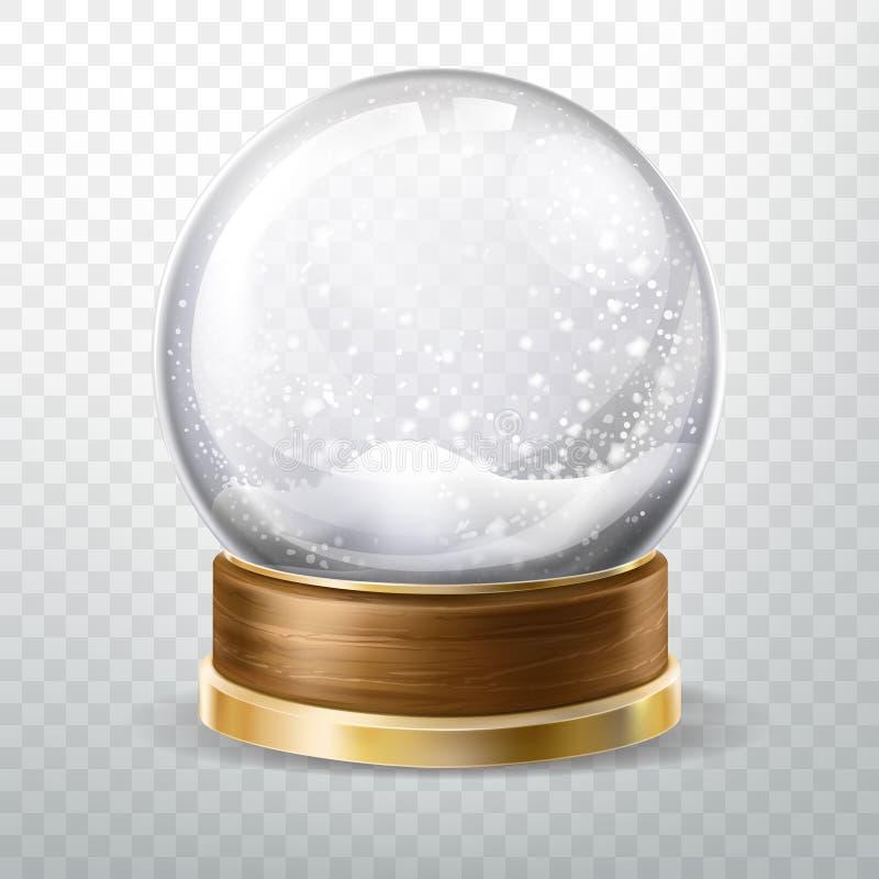Realistische die kristalbol met gevallen sneeuw, gift wordt geplaatst vector illustratie