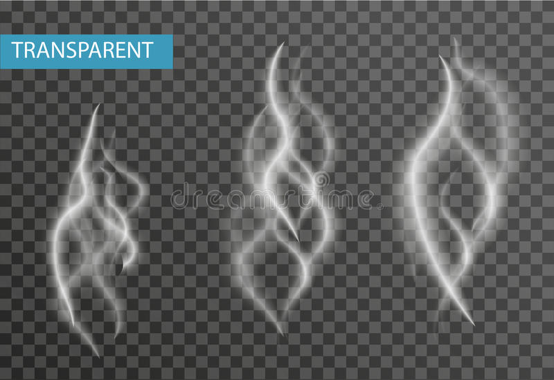Realistische die rookreeks op transparante achtergrond wordt geïsoleerd Sigaret, dampeffect Vector illustratie vector illustratie