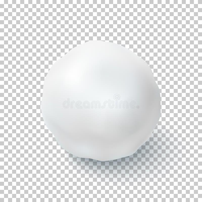 Realistische die sneeuwbal op transparante achtergrond wordt geïsoleerd vector illustratie