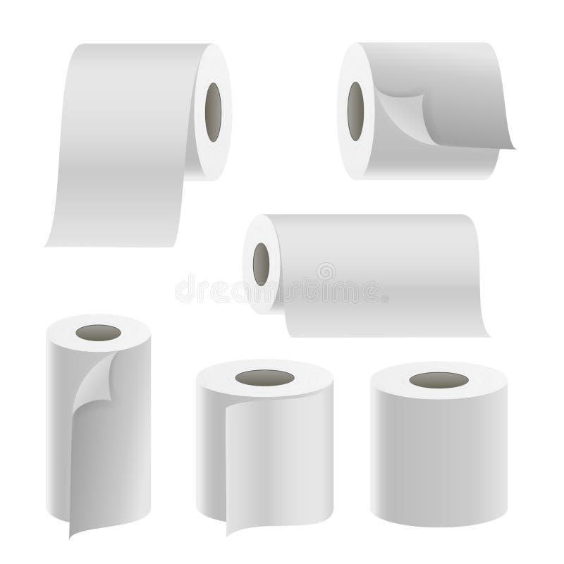 Realistische Document Broodjes Vastgestelde Vector Het broodjesspot van het malplaatje Lege Witte Toiletpapier omhoog stock illustratie