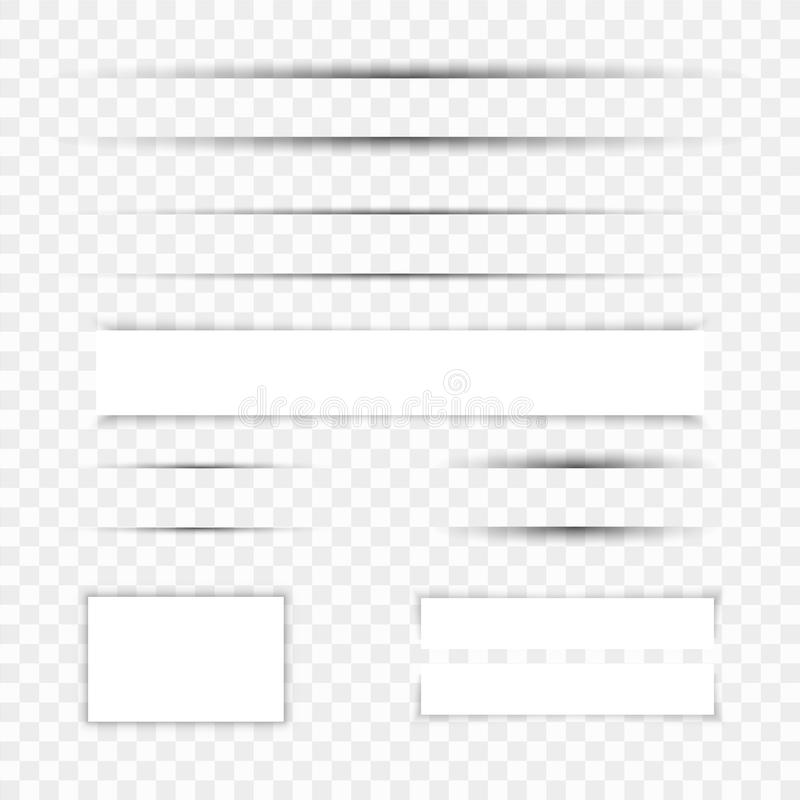 Realistische document schaduweffect reeks De banner van het Web Element voor adverterend en promotiebericht op transparant royalty-vrije illustratie