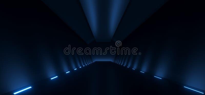 Realistische Donkere Gang met Lichten op Vloer stock illustratie
