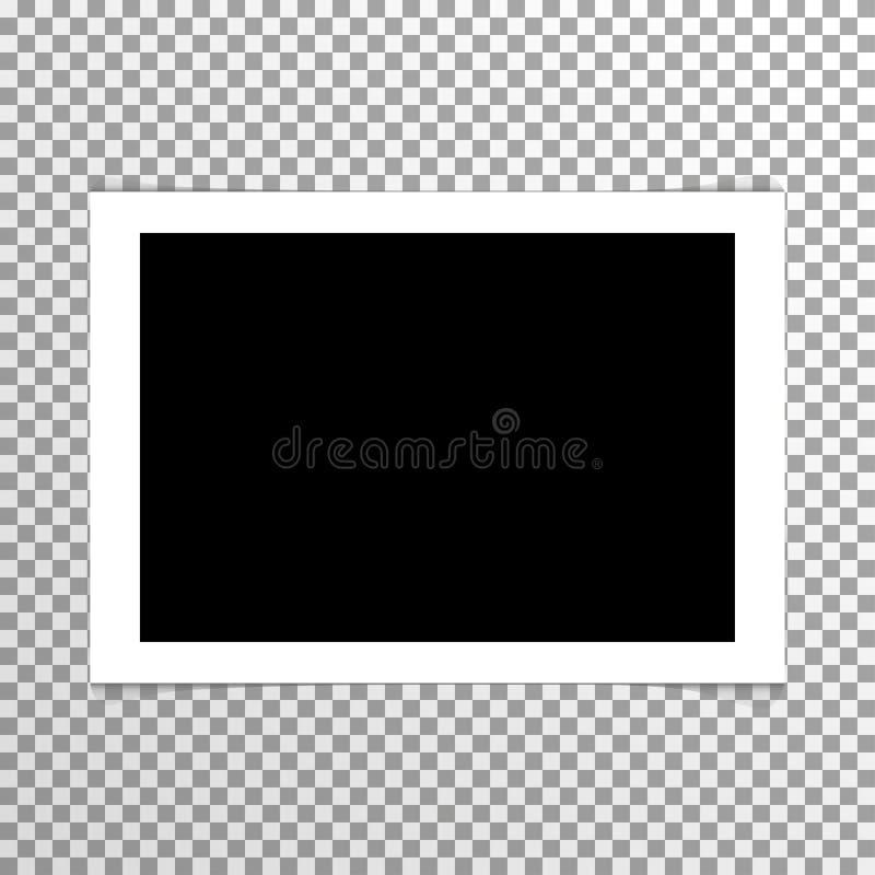 Realistische duidelijke lege foto met kadervector stock illustratie