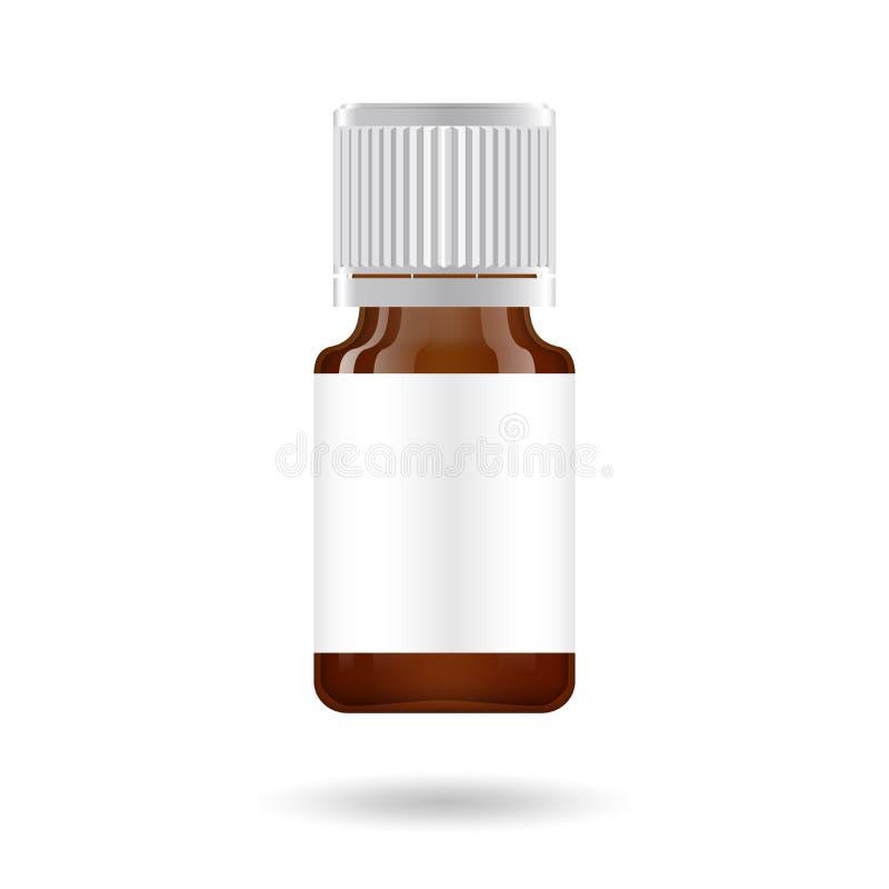 Realistische etherische olie bruine fles Spot op fles Kosmetisch flesje, fles, flacon Medische bank Kosmetisch druppelbuisje stock illustratie