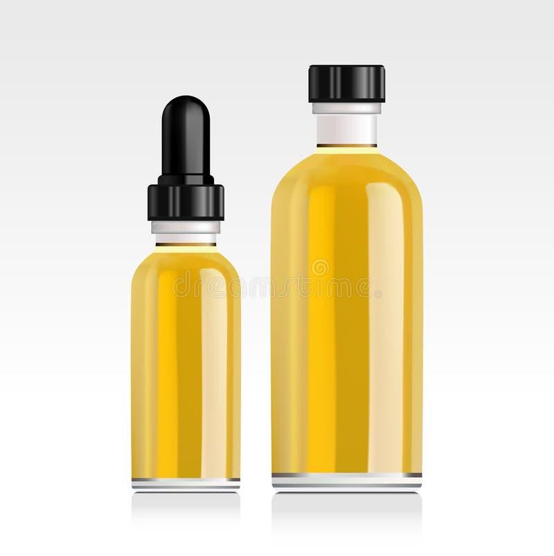 Realistische etherische oliefles Spot omhoog stock illustratie