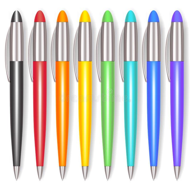 Realistische Farbe Pen Set Vektor stock abbildung
