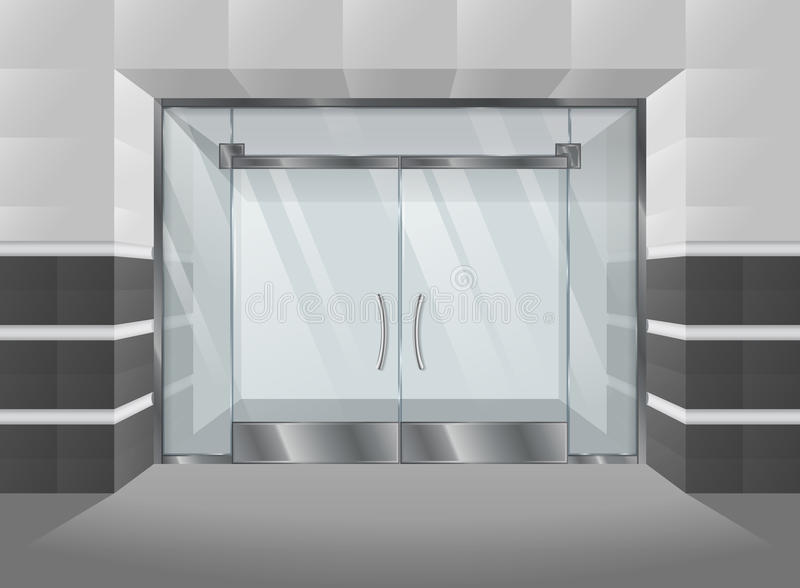 Realistische Fassade des Einkaufszentrums mit Glastüren und Fenstern Auch im corel abgehobenen Betrag vektor abbildung