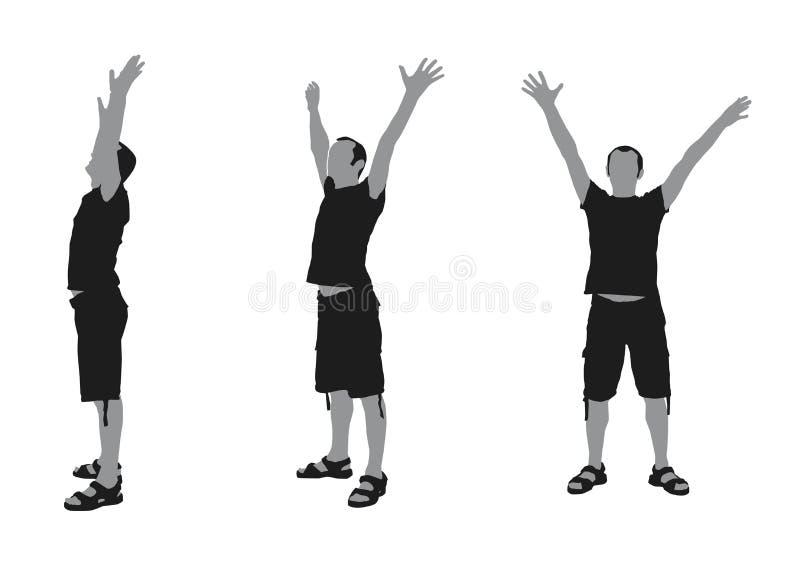 Realistische flache Illustration eines Mannschattenbildes mit den Händen oben vektor abbildung