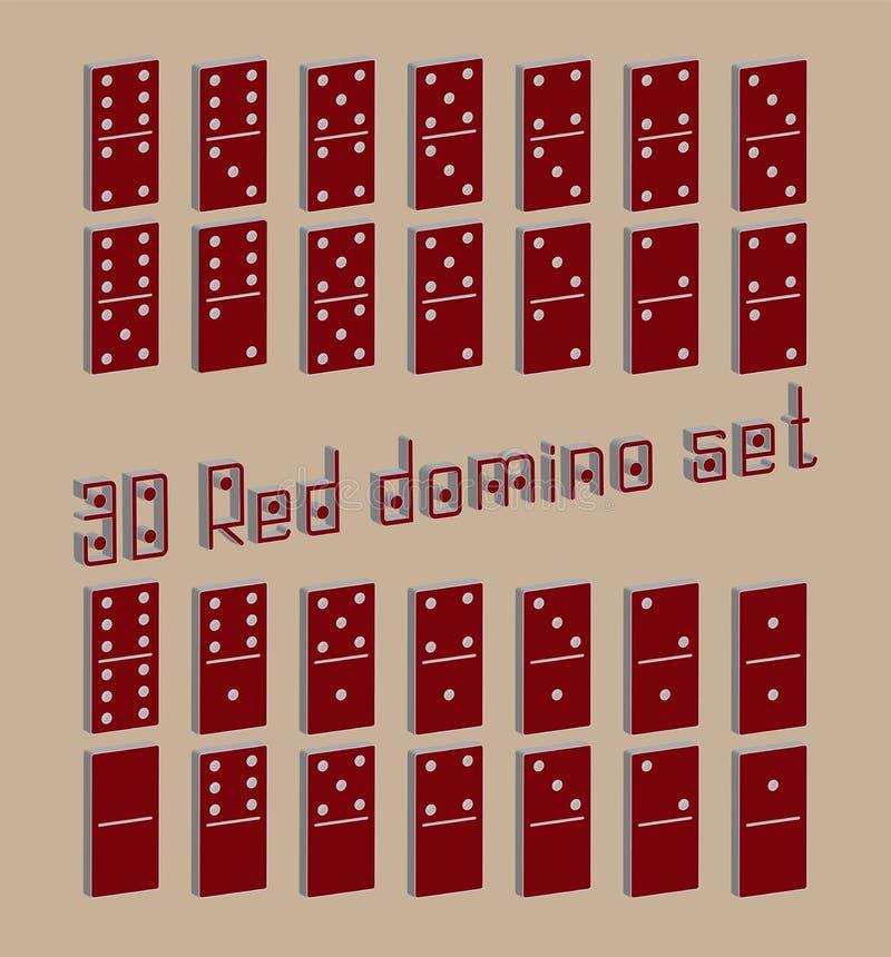 Realistische flache Stücke 3D des Dominoganzen satzes 28 für Spiel Rote Sammlung Grafisches Element des abstrakten Begriffs, Domi stock abbildung