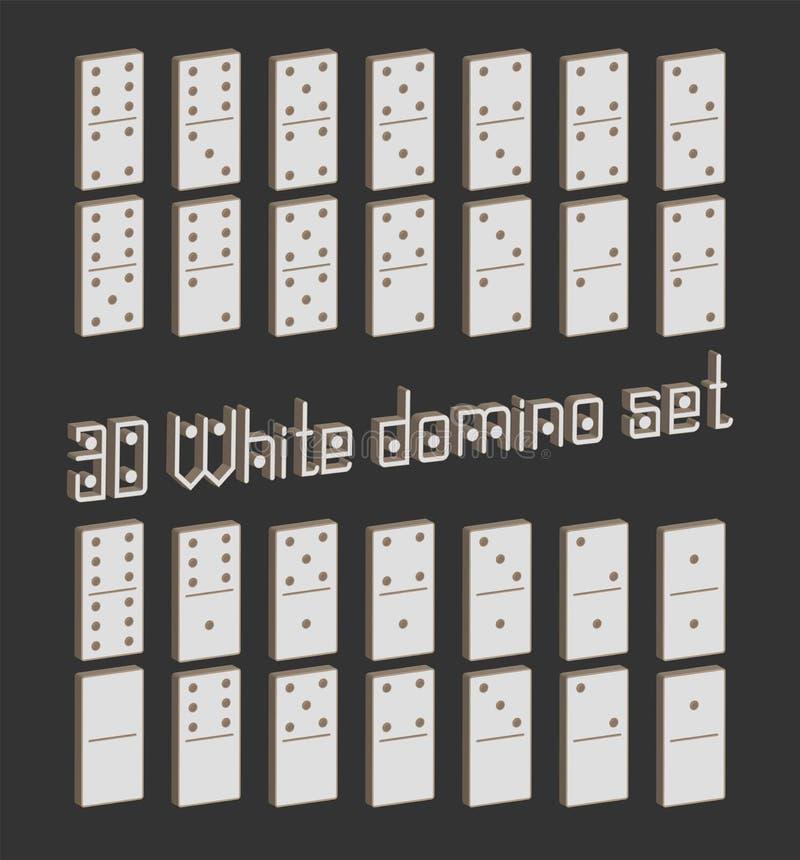 Realistische flache Stücke 3D des Dominoganzen satzes 28 für Spiel Weiße Sammlung Grafisches Element des abstrakten Begriffs, Dom stock abbildung