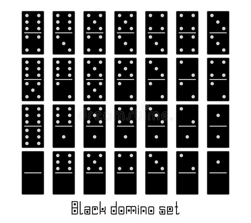 Realistische flache Stücke des Dominoganzen satzes 28 für Spiel Schwarze Sammlung Grafisches Element des abstrakten Begriffs, Dom stock abbildung