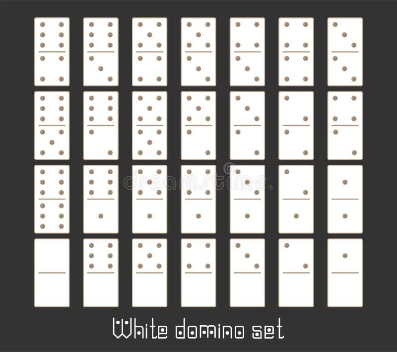 Realistische flache Stücke des Dominoganzen satzes 28 für Spiel Weiße Sammlung Grafisches Element des abstrakten Begriffs, Domino stock abbildung