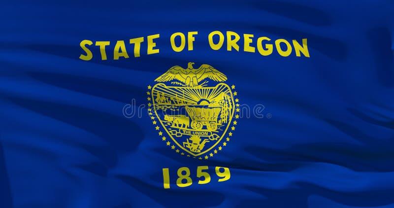Realistische Flagge von Staat Oregon auf der gewellten Oberfl?che der Seide Abbildung 3D Vervollkommnen Sie zu den Hintergrund- o lizenzfreie abbildung