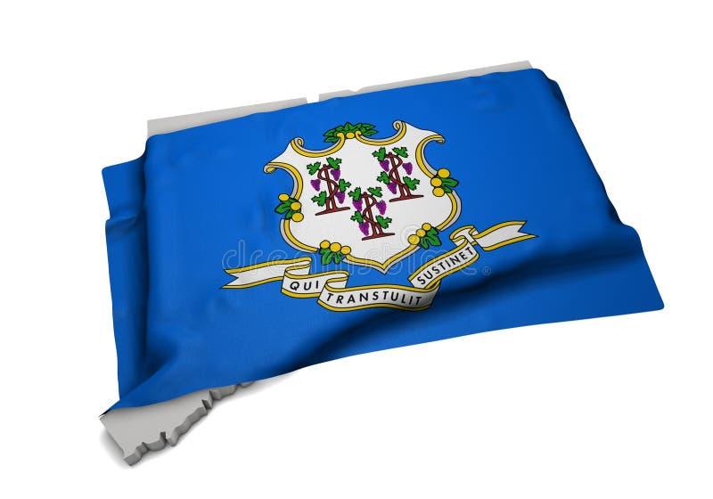 Realistische Flagge, welche die Form von Connecticut (Reihen, umfasst) stockfoto