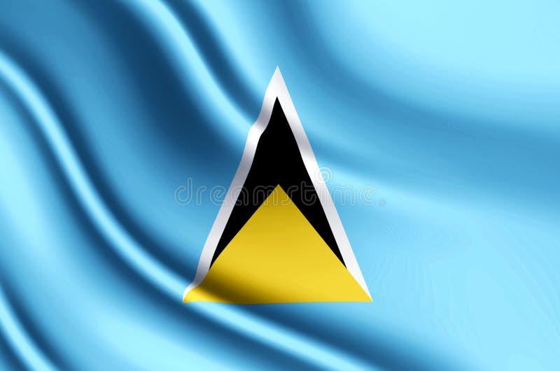 Realistische Flaggenillustration der St. Lucia lizenzfreie abbildung