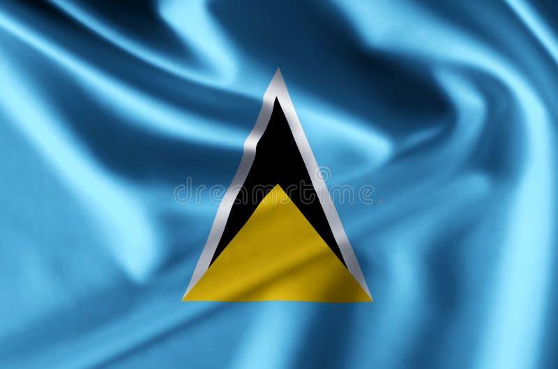 Realistische Flaggenillustration der St. Lucia vektor abbildung