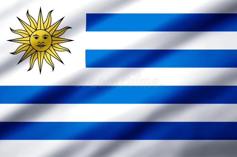 Realistische Flaggenillustration Uruguays lizenzfreie abbildung